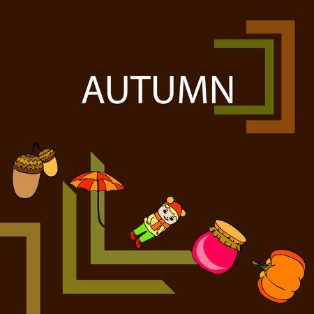 Autumn card with a girl, an umbrella pumpkin acorns and jam. Stock Illustratie