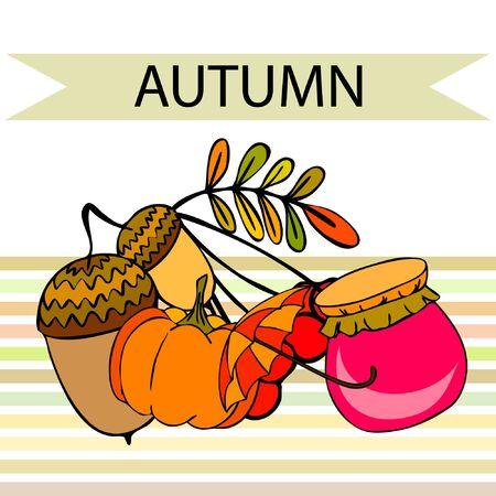Vector of Autumn, Fall season theme, pumpkin, jam, umbrella. Set of cute colorful icon collection. Vector background.