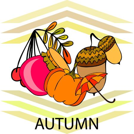 Vector of Autumn, Fall season theme, pumpkin, jam, umbrella. Set of cute colorful icon collection. Vector background.