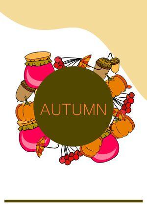 Vecteur d'automne, thème de la saison d'automne, citrouille, confiture, parapluie. Ensemble de collection d'icônes colorées mignonnes. Fond de vecteur.