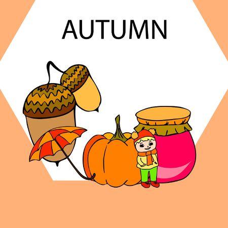Autumn card with a girl, an umbrella pumpkin acorns and jam.