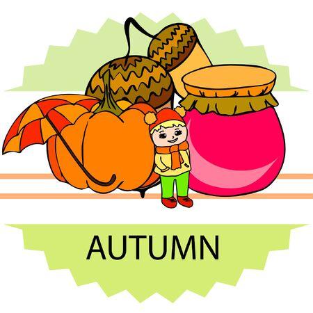 Autumn card with a girl, an umbrella pumpkin acorns and jam. Ilustração