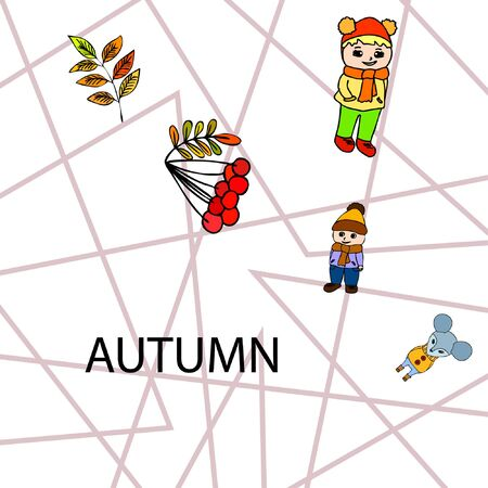 Cute children meeting autumn wearing warm clothes. Vector background