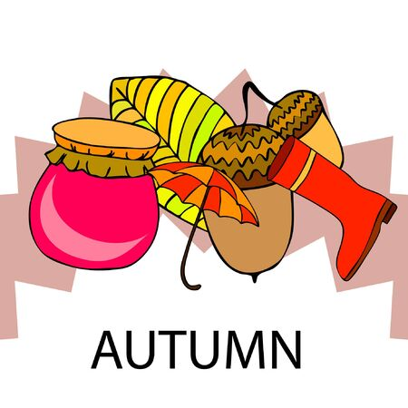 Card doodle style autumn, jam autumn leaves umbrella acorns, elements and symbols in color.