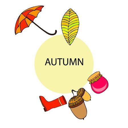 Card doodle style autumn, jam autumn leaves umbrella acorns, elements and symbols in color.