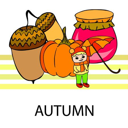 Autumn card with a girl, an umbrella pumpkin acorns and jam.  イラスト・ベクター素材