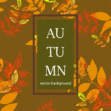 Colorful autumn leaves falling and spinning. Vector background