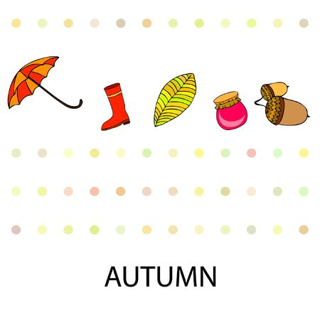 Card doodle style autumn, jam autumn leaves umbrella acorns, elements and symbols in color. Stock fotó - 133739399