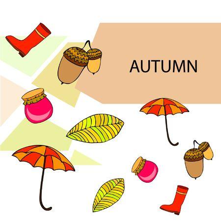 Card doodle style autumn, jam autumn leaves umbrella acorns, elements and symbols in color. Stock fotó - 133739418