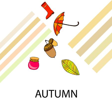 Card doodle style autumn, jam autumn leaves umbrella acorns, elements and symbols in color. Stock fotó - 133739410