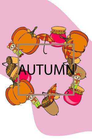 Autumn card with a girl, an umbrella pumpkin acorns and jam. Stock fotó - 133739732