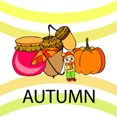 Autumn card with a girl, an umbrella pumpkin acorns and jam. Stock fotó - 133739737