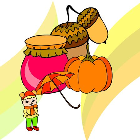 Autumn card with a girl, an umbrella pumpkin acorns and jam. Stock fotó - 133739738
