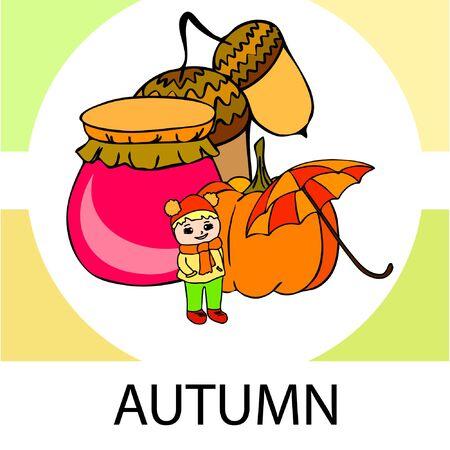 Autumn card with a girl, an umbrella pumpkin acorns and jam. Stock fotó - 133739740