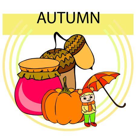 Autumn card with a girl, an umbrella pumpkin acorns and jam. Stock fotó - 133739754