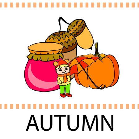 Autumn card with a girl, an umbrella pumpkin acorns and jam. Stock fotó - 133739743