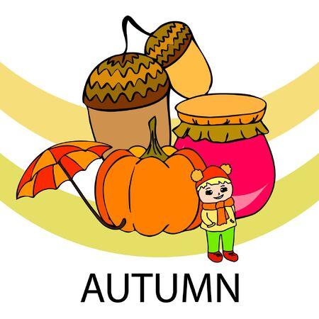 Autumn card with a girl, an umbrella pumpkin acorns and jam. Stock fotó - 133739749