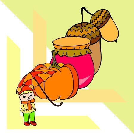 Autumn card with a girl, an umbrella pumpkin acorns and jam. Stock fotó - 133739744