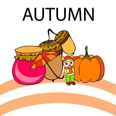 Autumn card with a girl, an umbrella pumpkin acorns and jam. Stock fotó - 133739745