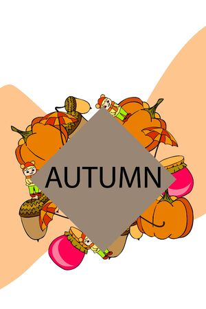 Autumn card with a girl, an umbrella pumpkin acorns and jam. Stock fotó - 133739746