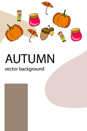 Autumn card with a girl, an umbrella pumpkin acorns and jam. Stock fotó - 133739747