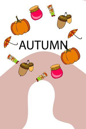 Autumn card with a girl, an umbrella pumpkin acorns and jam. Illusztráció