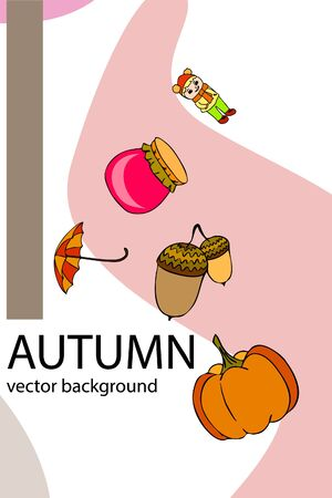 Autumn card with a girl, an umbrella pumpkin acorns and jam. Stock fotó - 133739753