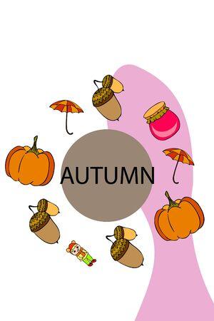 Autumn card with a girl, an umbrella pumpkin acorns and jam. Stock fotó - 133739757