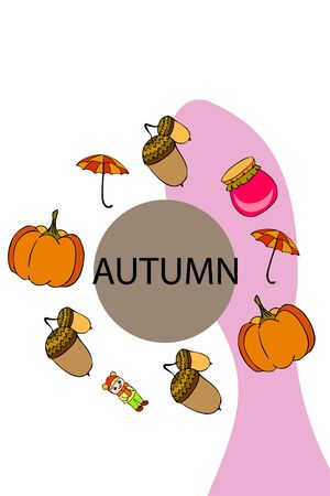 Autumn card with a girl, an umbrella pumpkin acorns and jam. 向量圖像