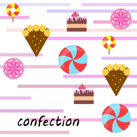 Home bakery vector illustration of birthday cake, capcake and sweets . Design idea for poster, cards and advertisment. Stock fotó - 133739956