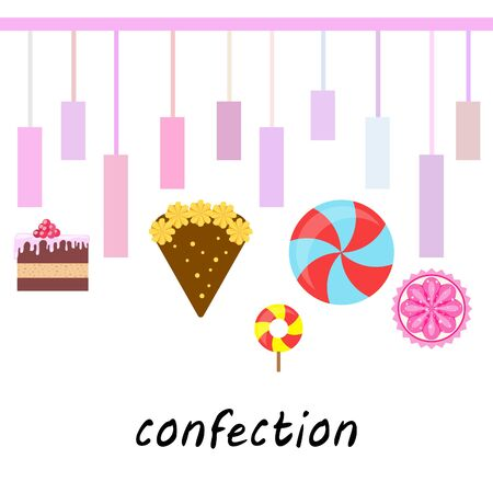 Home bakery vector illustration of birthday cake, capcake and sweets . Design idea for poster, cards and advertisment.