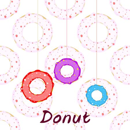 Donuts with pink chocolate lemon, blue mint glaze. Vector background
