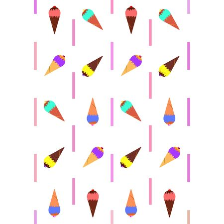 Collection of summer cold dessert. Ice cream. Vector background. Food holiday background 向量圖像