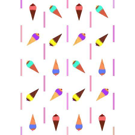 Collection of summer cold dessert. Ice cream. Vector background. Food holiday background Illusztráció