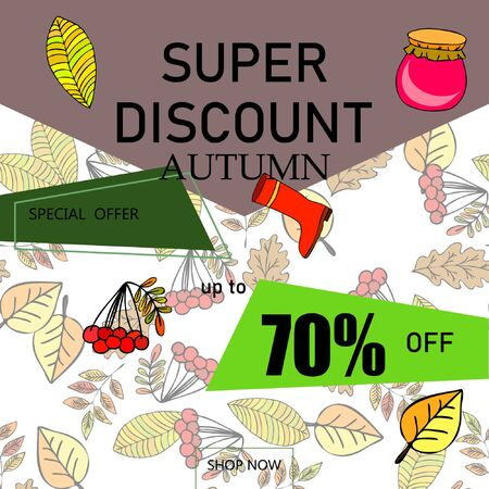 Conception de modèle de bannière de vente d'automne, offre spéciale. Concept publicitaire. Illustration vectorielle.