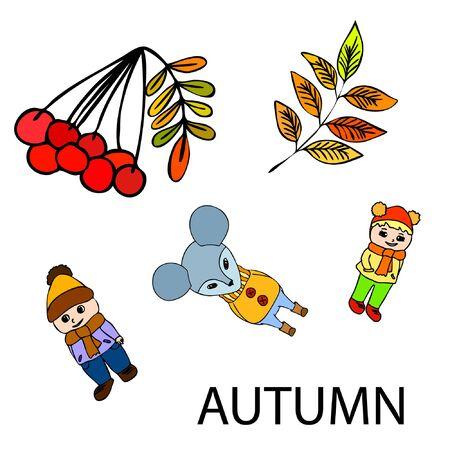 Cute children meeting autumn wearing warm clothes. Vector background