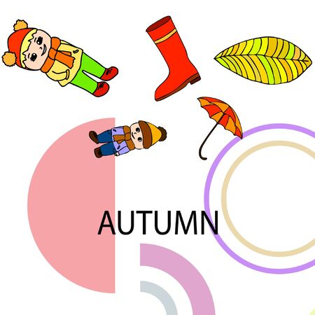 kids,boys and girls on a autumn background, illustration, vector