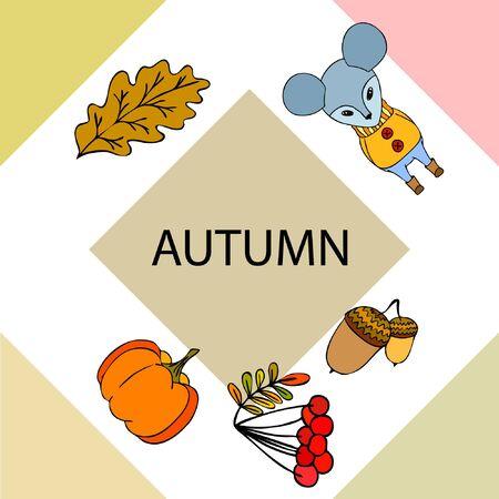 Autumn card with cartoon mouse, autumn leaves, pumpkins. Vector illustration Çizim