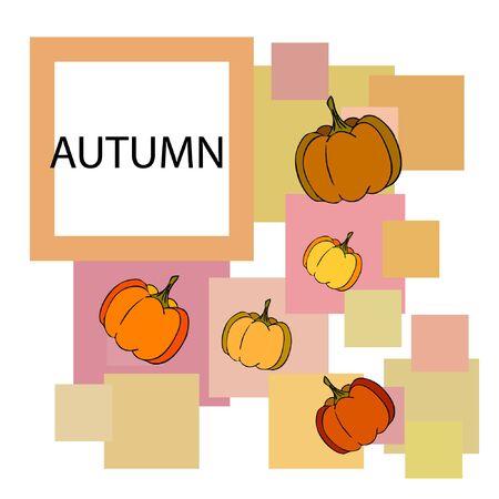 Autumn card, orange pumpkins, vector background. Halloween illustration. October harvest. Nature design Stock fotó - 134863381