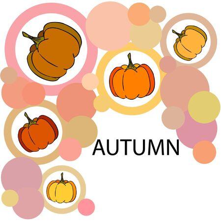 Autumn card, orange pumpkins, vector background. Halloween illustration. October harvest. Nature design Stock fotó - 134863383