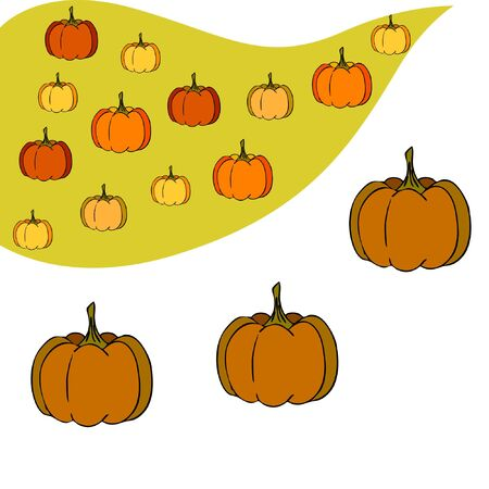 Autumn card, orange pumpkins, vector background. Halloween illustration. October harvest. Nature design Stock fotó - 134863391