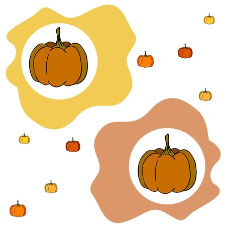 Autumn card, orange pumpkins, vector background. Halloween illustration. October harvest. Nature design Stock fotó - 134863398