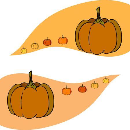 Autumn card, orange pumpkins, vector background. Halloween illustration. October harvest. Nature design Stock fotó - 134863399