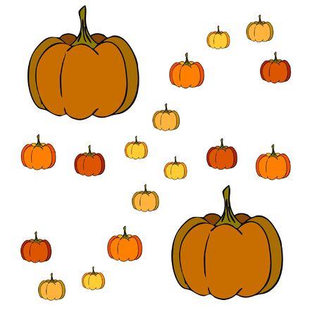 Autumn card, orange pumpkins, vector background. Halloween illustration. October harvest. Nature design Stock fotó - 134863408