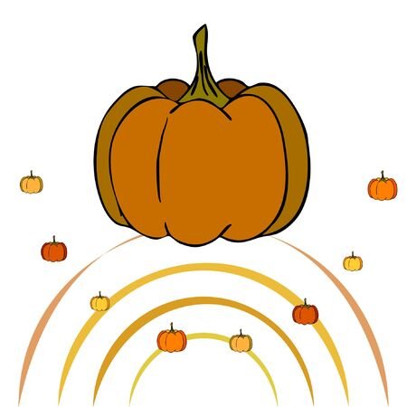 Autumn card, orange pumpkins, vector background. Halloween illustration. October harvest. Nature design Stock fotó - 134792507