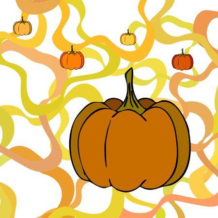 Autumn card, orange pumpkins, vector background. Halloween illustration. October harvest. Nature design Stock fotó - 134792516
