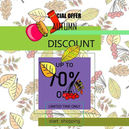 Diseño de plantilla de banner de venta de otoño, oferta especial. Concepto de publicidad. Ilustración vectorial Ilustración de vector