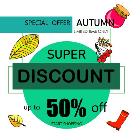 Autumn sale banner template design, Special offer. Ad concept. Vector illustration Иллюстрация