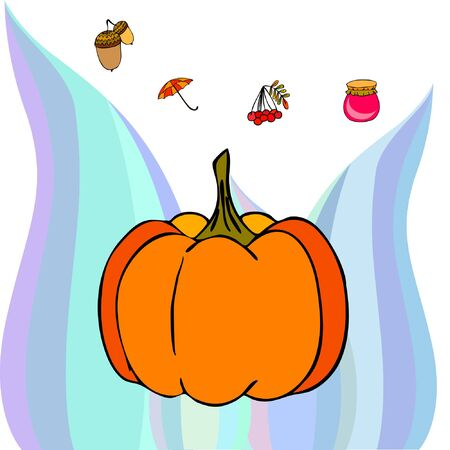 Vector of Autumn, Fall season theme, pumpkin, jam, umbrella. Set of cute colorful icon collection. Vector background Imagens - 133563692