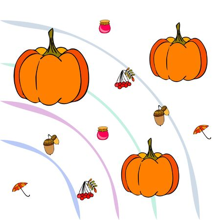 Vector of Autumn, Fall season theme, pumpkin, jam, umbrella. Set of cute colorful icon collection. Vector background Stock fotó - 134792527